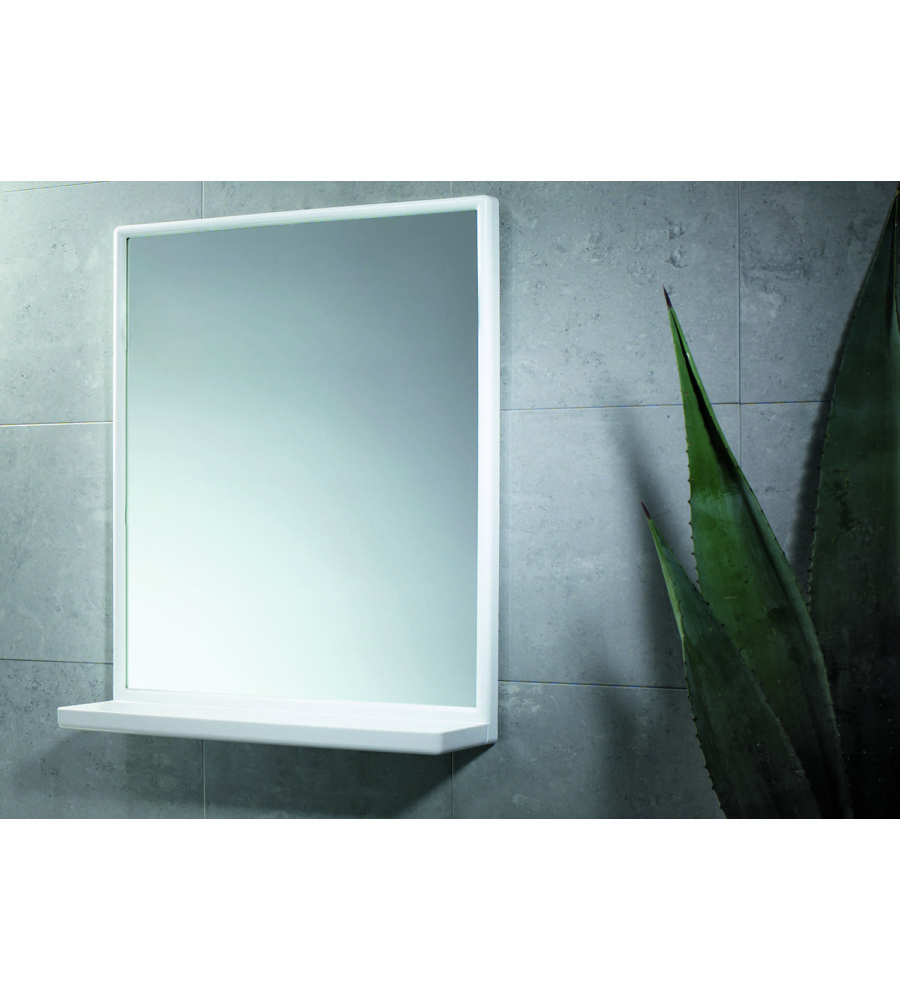Specchio con mensola bianco - Specchio con mensola bagno ...