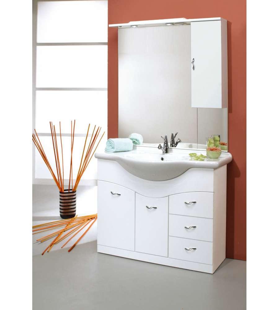 Composizione bagno lavabo e specchiera bianco lucido for Specchiera bagno