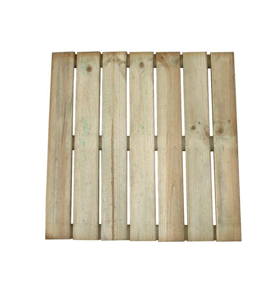 Pedana quadrata antiscivolo con 7 stecche 50x50x3 cm - Pedana da giardino ...