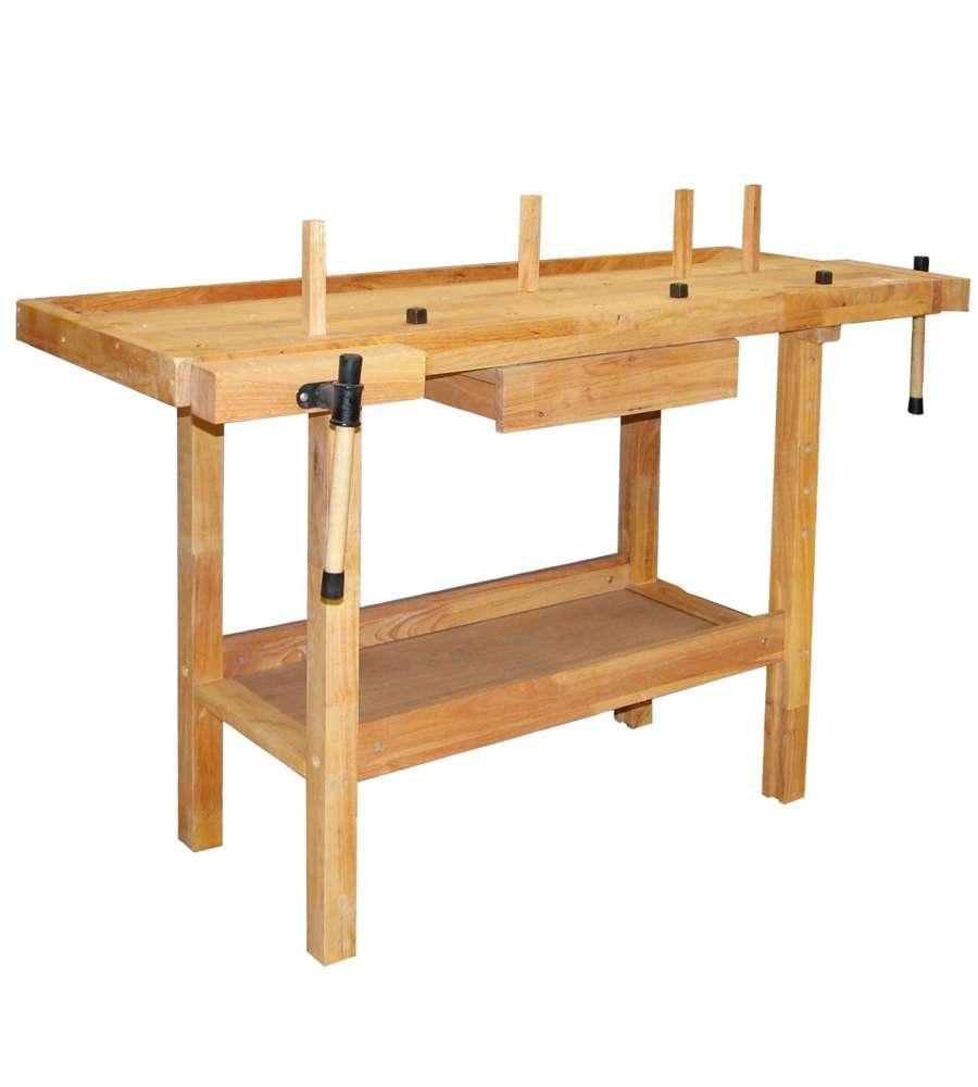 Tavolo da lavoro in legno cm 140x50x90 - Banco da lavoro cucina legno ...