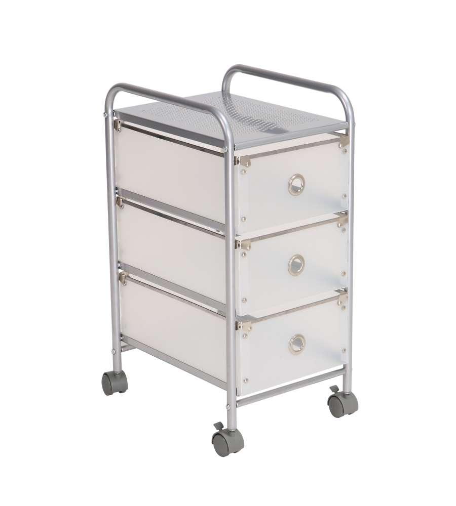 Trolley Bagno Porta Accessori Per Bagno Con 3 Cassetti In Plastica, 4 Ruote - Colore Grigio.