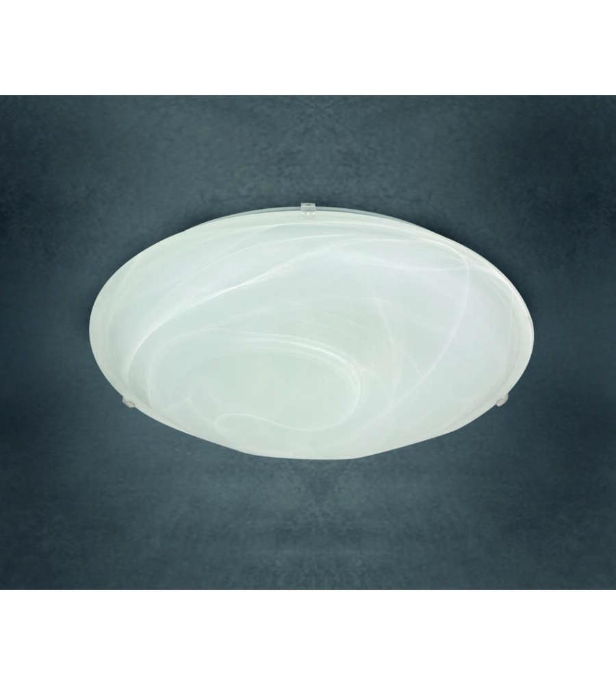 Plafoniera Quadrata 40x40 : Plafoniera diametro 30 cm alabastro bianco con ganci in plastica.