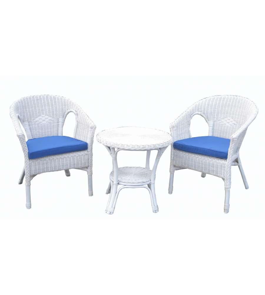 Set da giardino vimini bianco fabion 1 tavolino e 2 for Arredo giardino bianco
