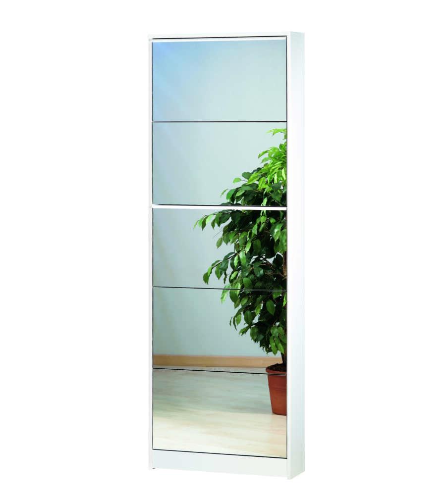 Scarpiera bianca 5 ribalte a specchio - Scarpiera con specchio ...