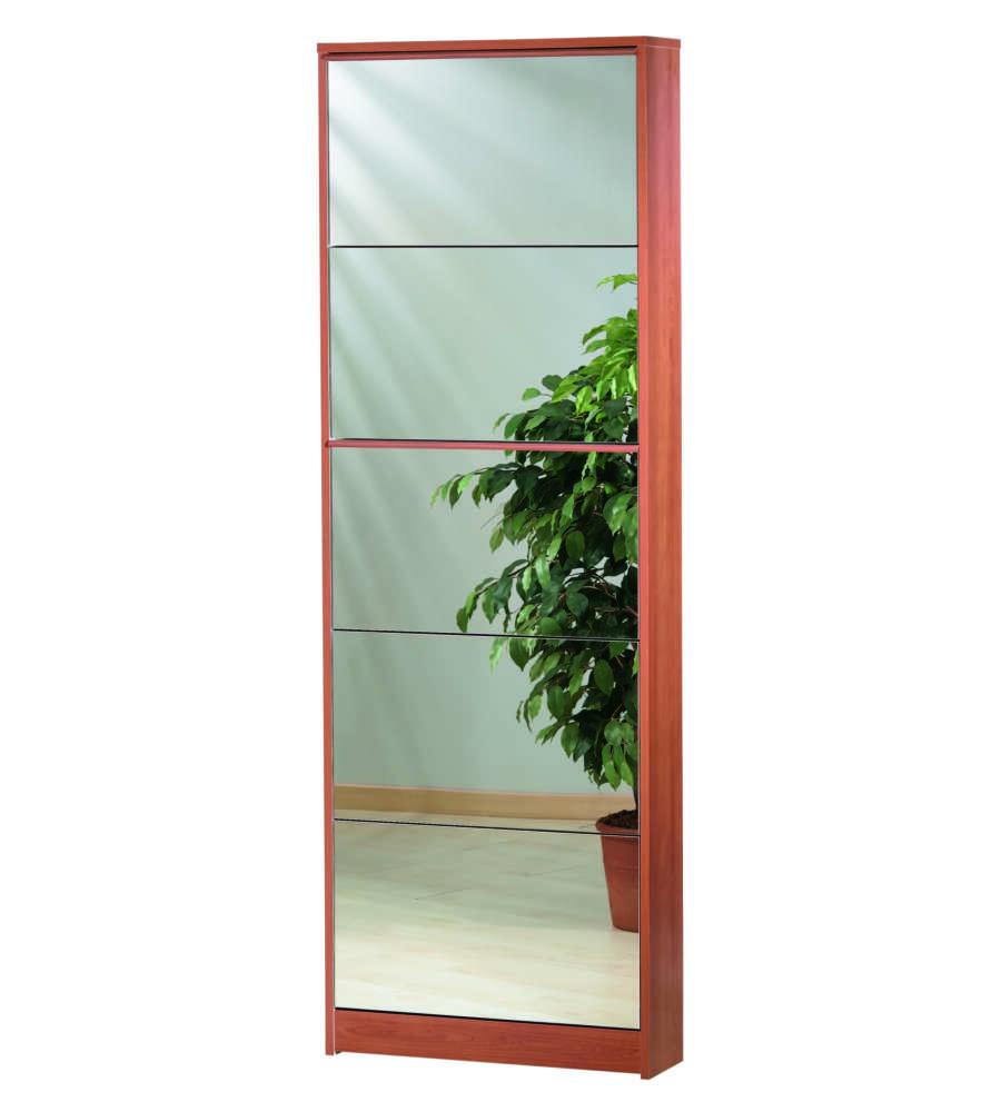 Scarpiera ciliegio 5 ribalte a specchio - Scarpiera a specchio ...