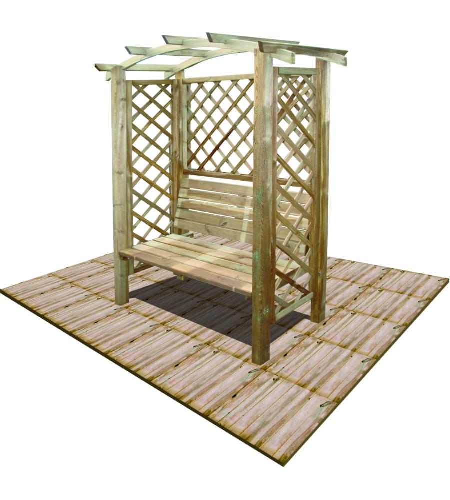 Pergola da giardino ad arco con panca da 120 cm - Pergola giardino ...