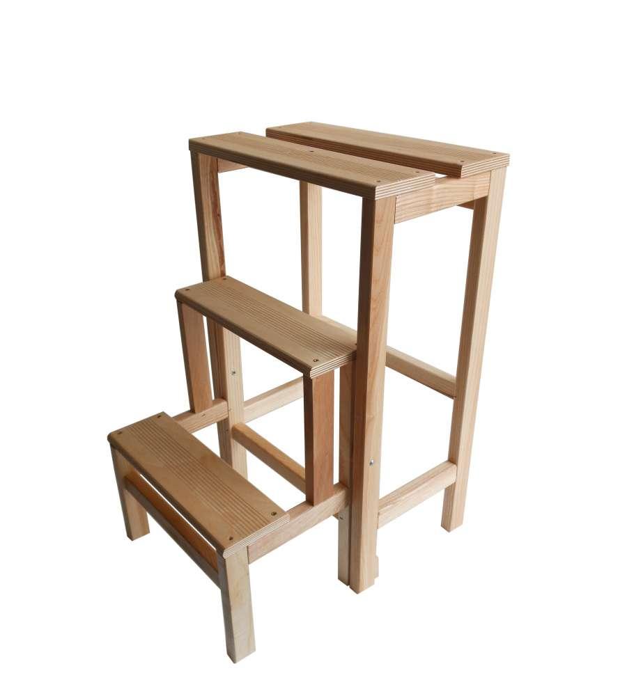 Sgabello scala in legno in faggio naturale richiudibile for Gradini in legno prezzi
