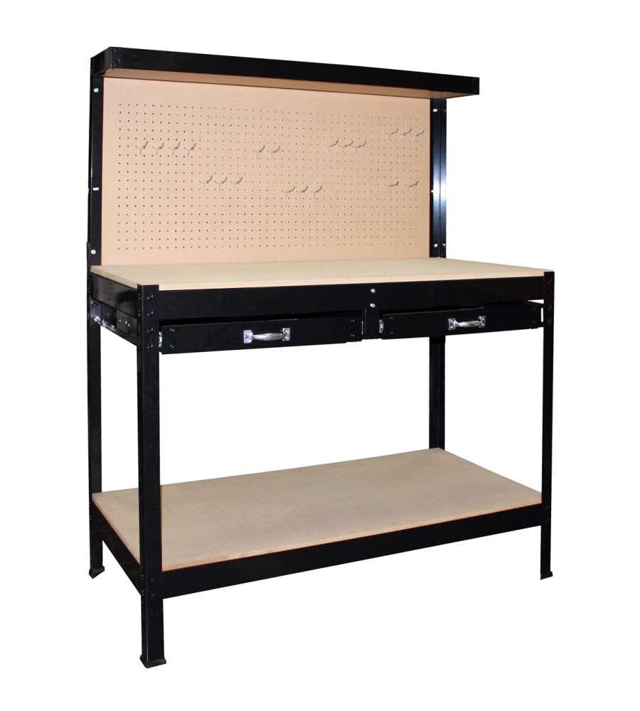 Tavolo da lavoro con pannello e 2 cassetti 122x61x151h cm - Banco di lavoro ikea ...