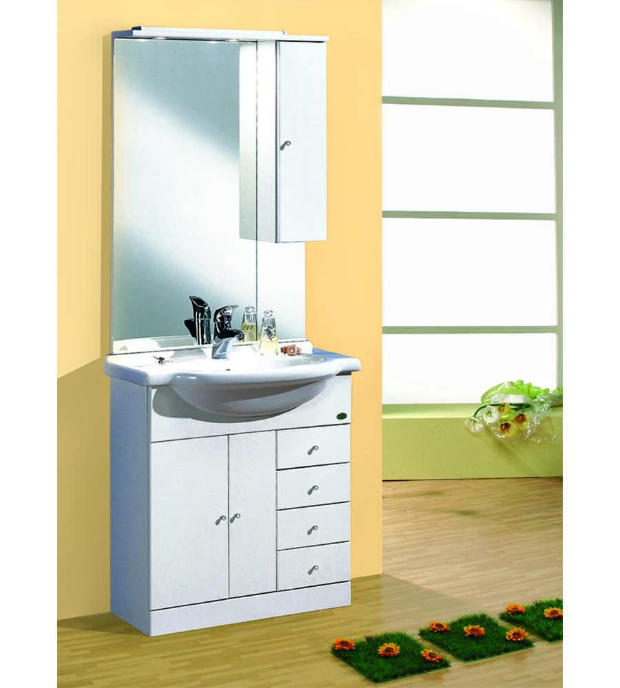 Composizione bagno 75x190x48 bianco lucido - Mobile bagno bianco lucido ...