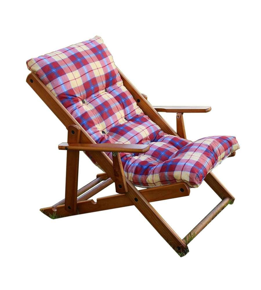 sedia sdraio alessia in pino naturale con cuscino e