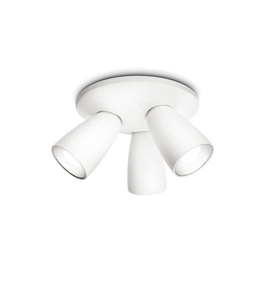 Plafoniere Con Spot : Plafoniera con faretto spot in metallo conico bianco e