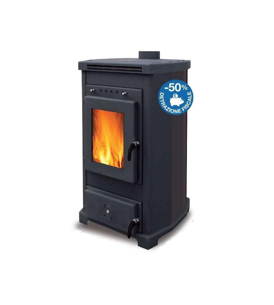 Stufa a legna ventilata alberta 13 kw nera - Stufe a legna per cucinare e riscaldare ...