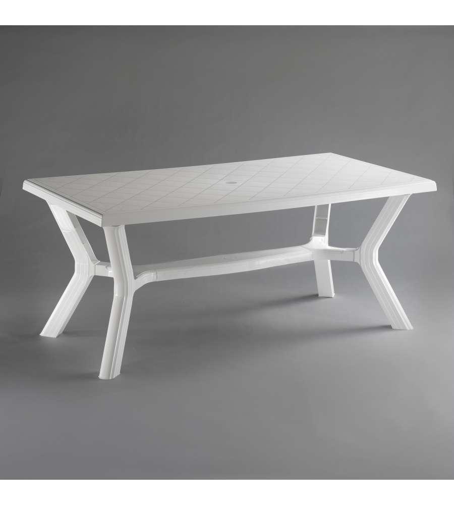 Tavolo bianco da giardino carribe 175x90 cm for Tavolo rettangolare bianco