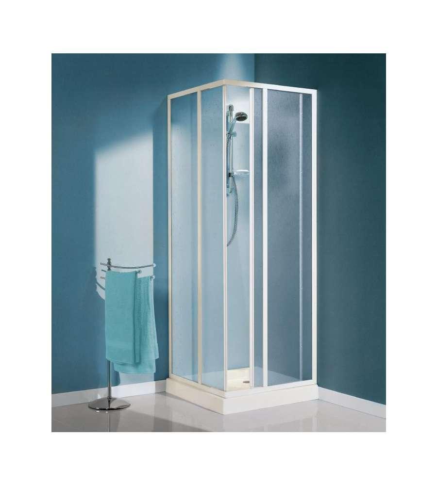 Box doccia ad angolo 2 ante fisse e 2 scorrevoli in vetro stampato 78 89 - Porte scorrevoli ad angolo ...