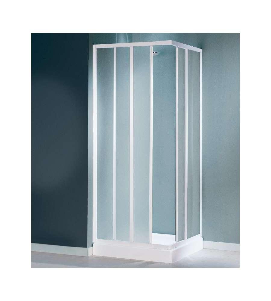 Box doccia ad angolo cayman 2 ante fisse e 2 scorrevoli in vetro stampato 70 80 - Porte scorrevoli ad angolo ...