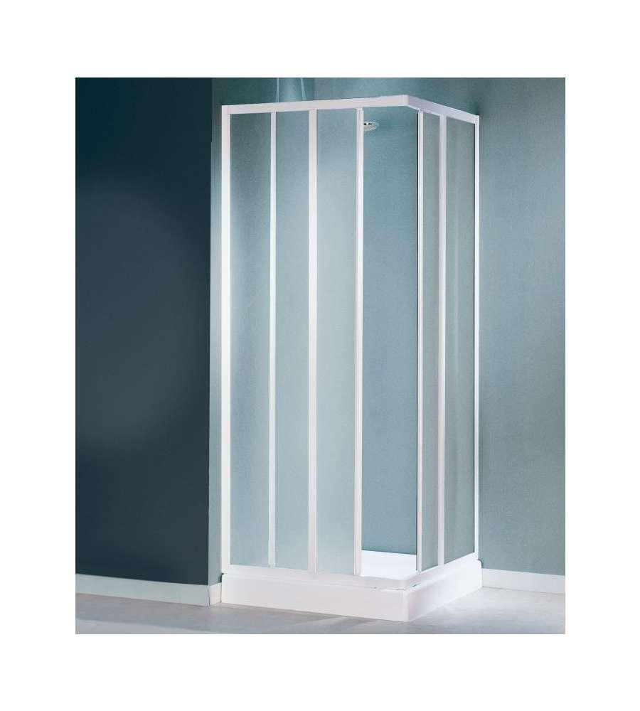 Box doccia ad angolo cayman 2 ante fisse e 2 scorrevoli in vetro stampato 80 90 - Porte scorrevoli ad angolo ...