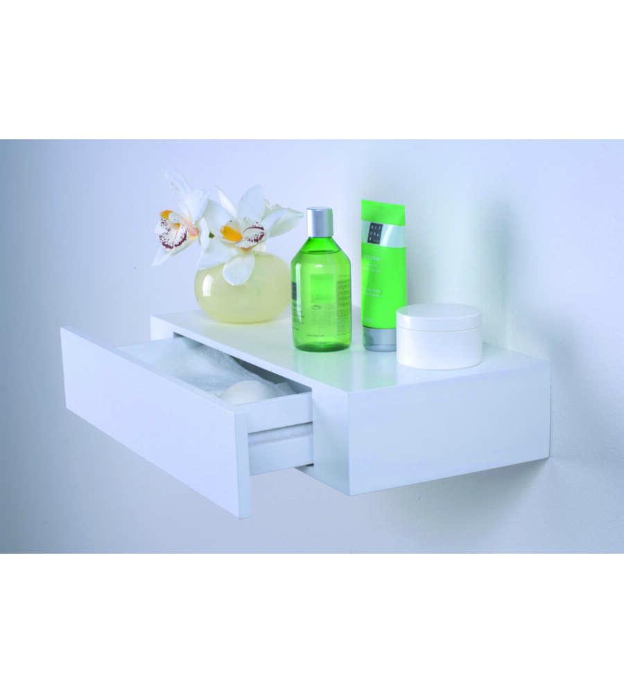 mensola con cassetto laccata bianca