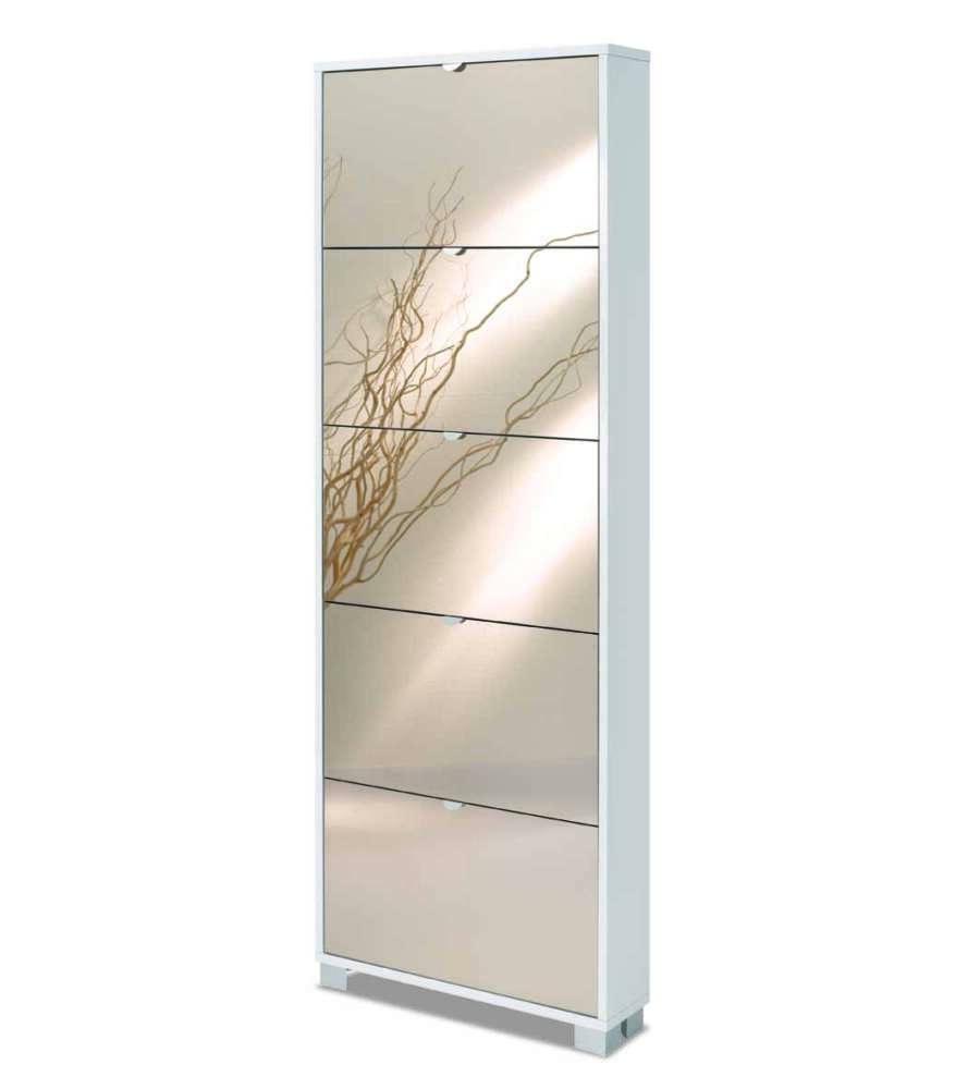 Scarpiera 5 ante specchio profondita 39 18 cm bianco lucido con ante specchio fume 39 x - Scarpiera con specchio ...