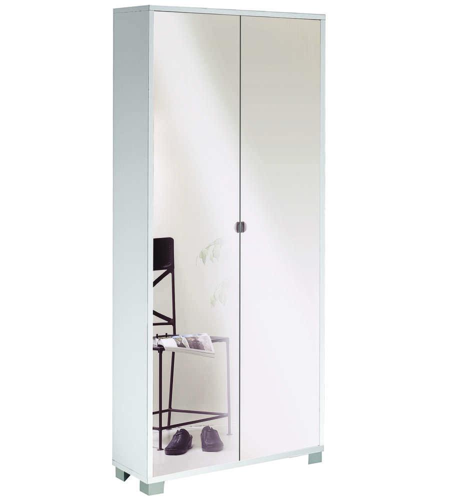 Mobile 2 ante portascarpe bianco fiammato con ante - Mobili a specchio ...