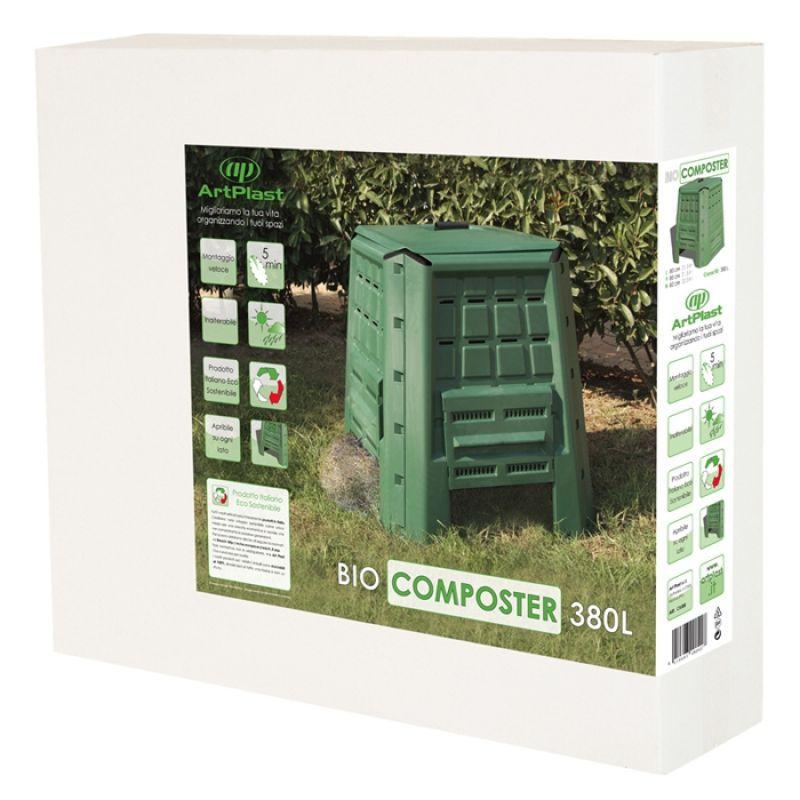 Compostiera da giardino 380 litri in polipropilene verde for C e un giardino e li che ti aspettero