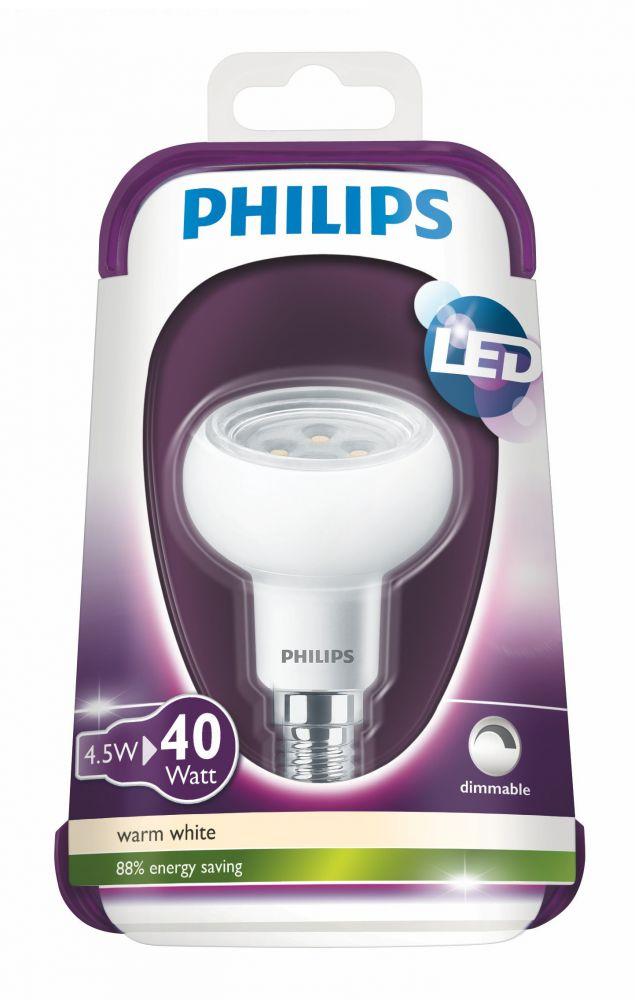 Philips lampadina led 40w e14 ww 230v r50 36d dim 4 for Lampadine a led e14