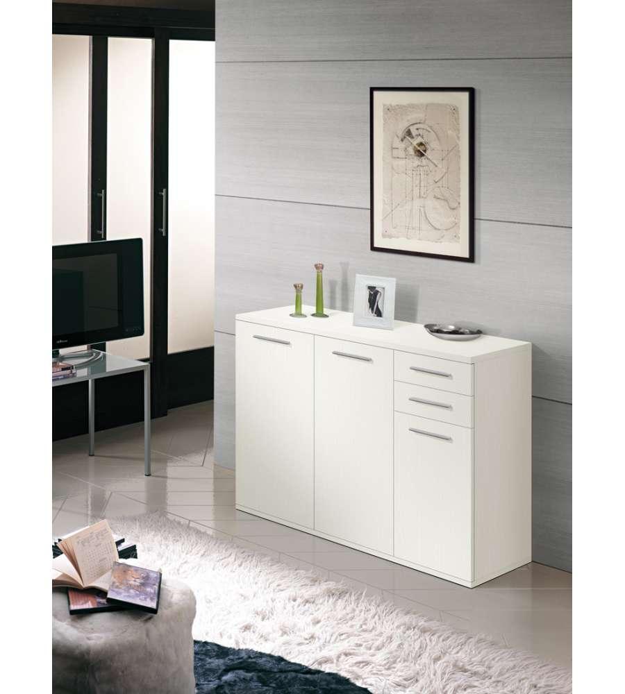 Mobile multiuso 3 ante 2 cassetti bianco frassinato for Presotto industrie mobili spa