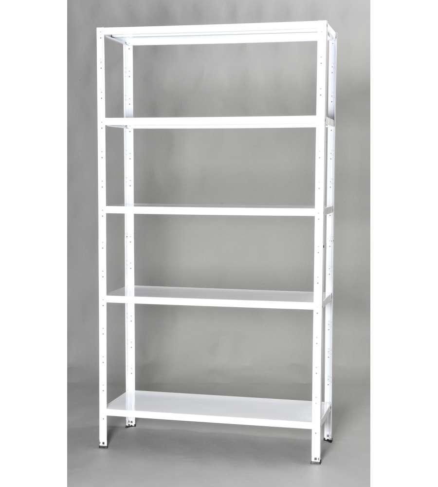 Scaffalatura In Kit Con 5 Ripiani - Colore Bianco - 100x40x186h Cm.