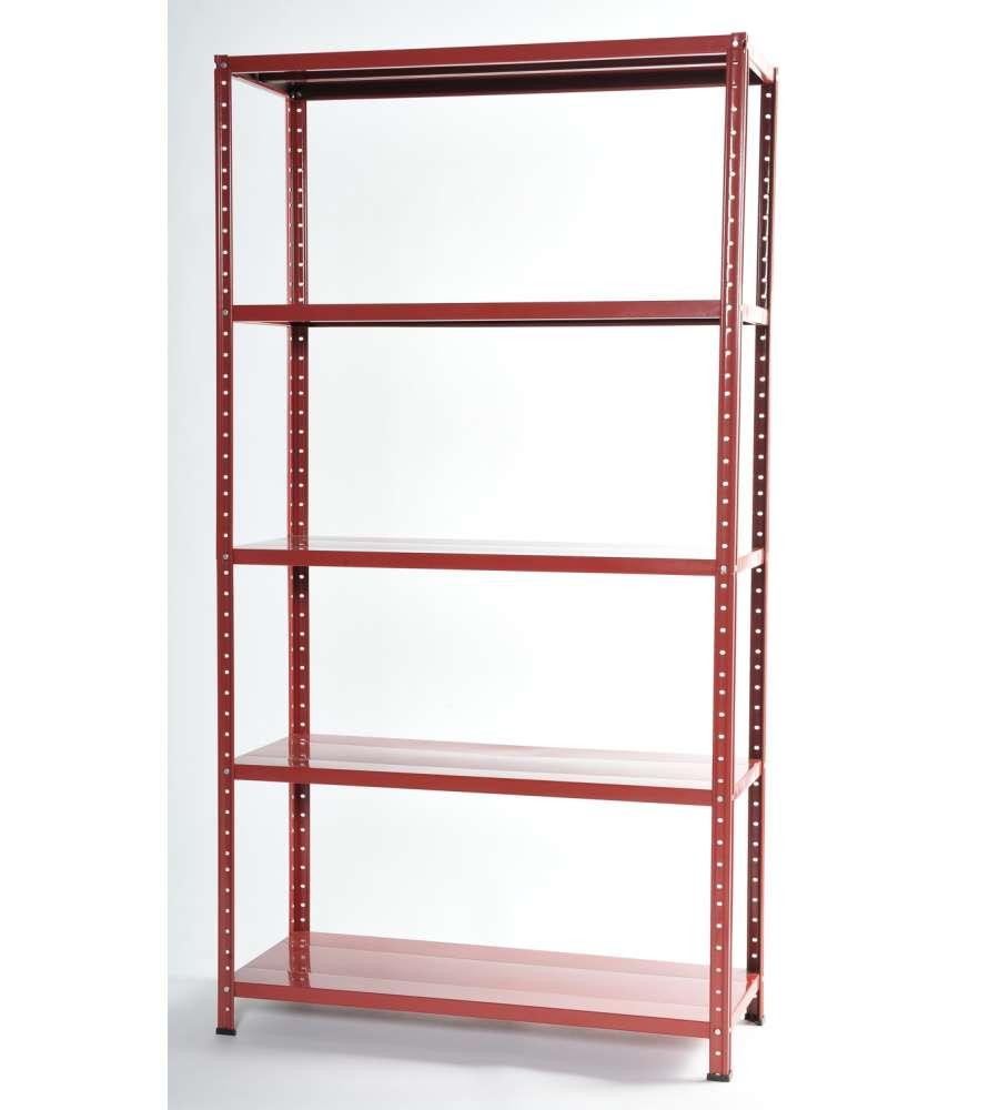 Scaffalatura In Kit Con 5 Ripiani - Colore Rosso - 100x40x185h Cm.