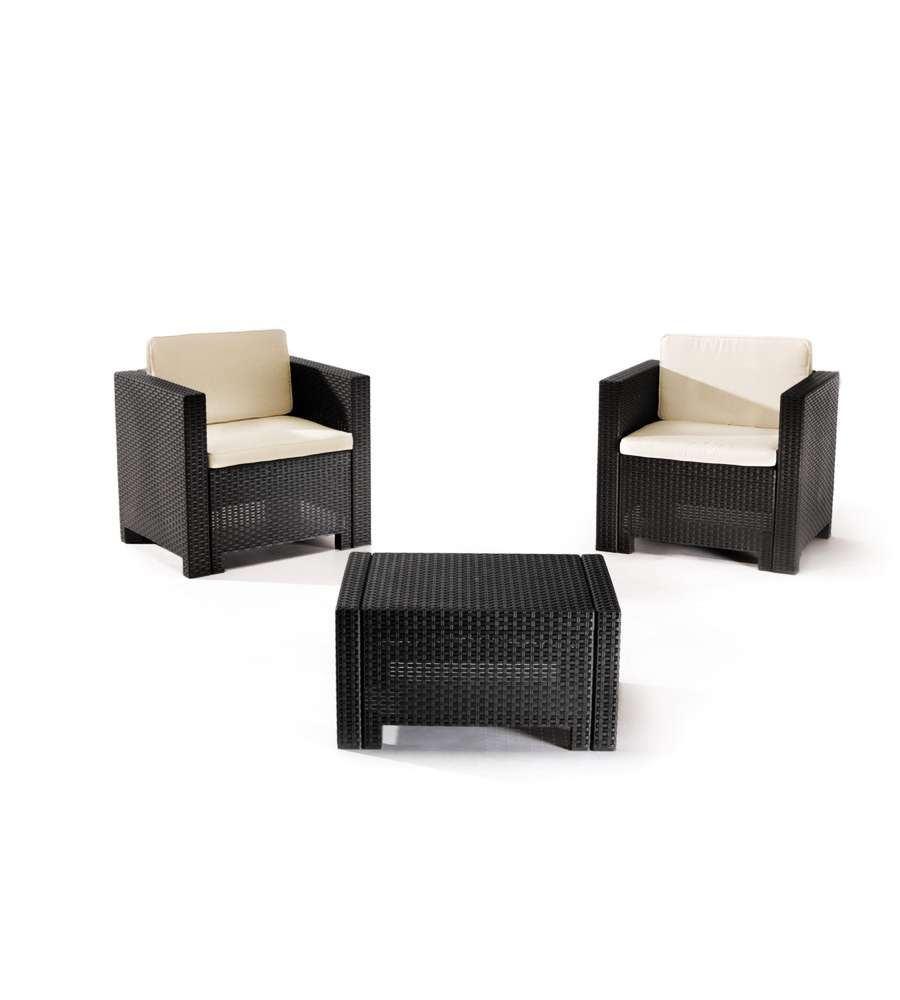 Offerta set trio wicker 2 pol tav taupe for Arredo da giardino rattan