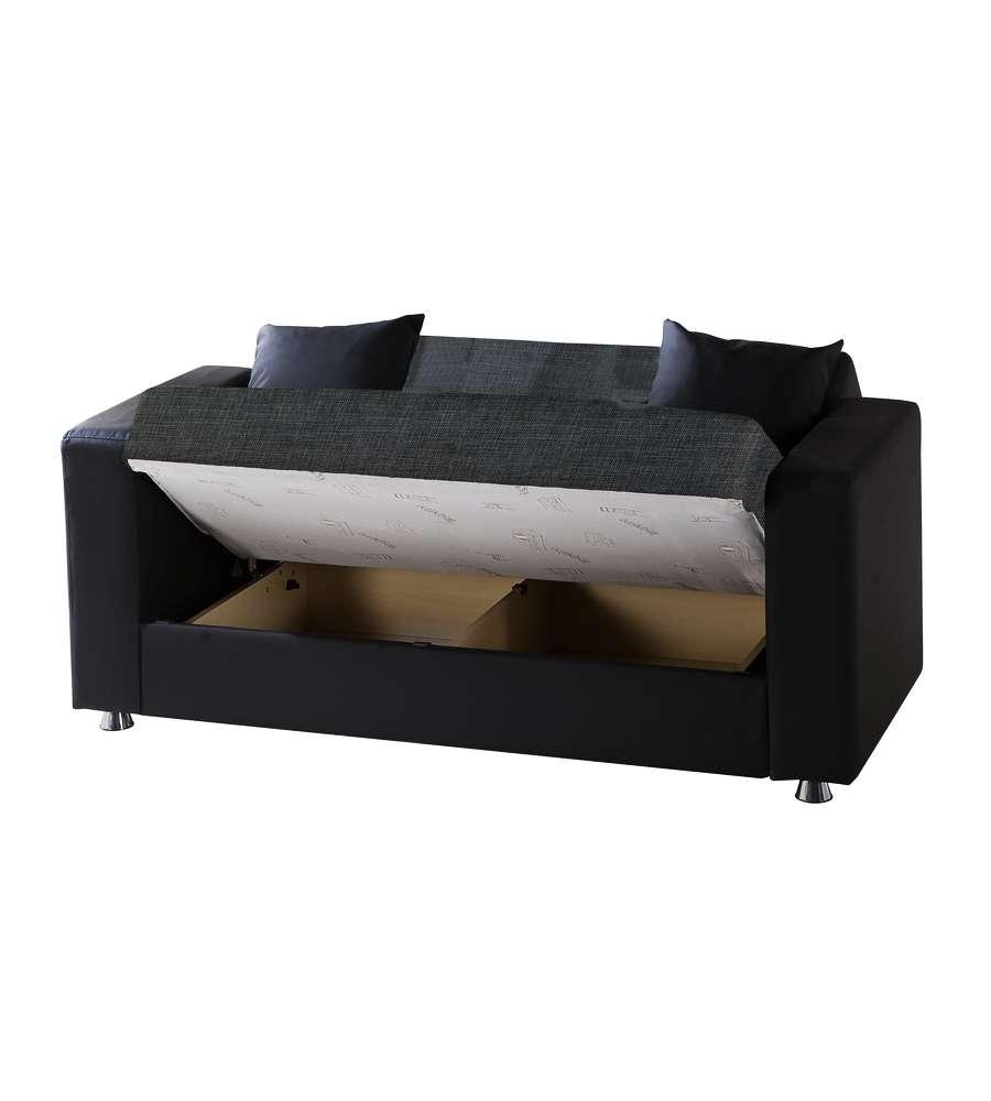 Divano letto modello ermes a 2 posti in tessuto grigio - Divano ecopelle 2 posti ...