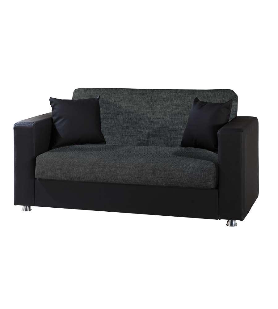 Divano letto modello ermes a 2 posti in tessuto grigio ed ecopelle nera - Divano ecopelle 2 posti ...