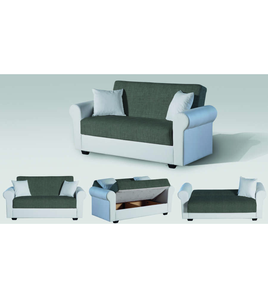 Divano letto modello dafne a 2 posti in ecopelle bianca - Divano ecopelle 2 posti ...