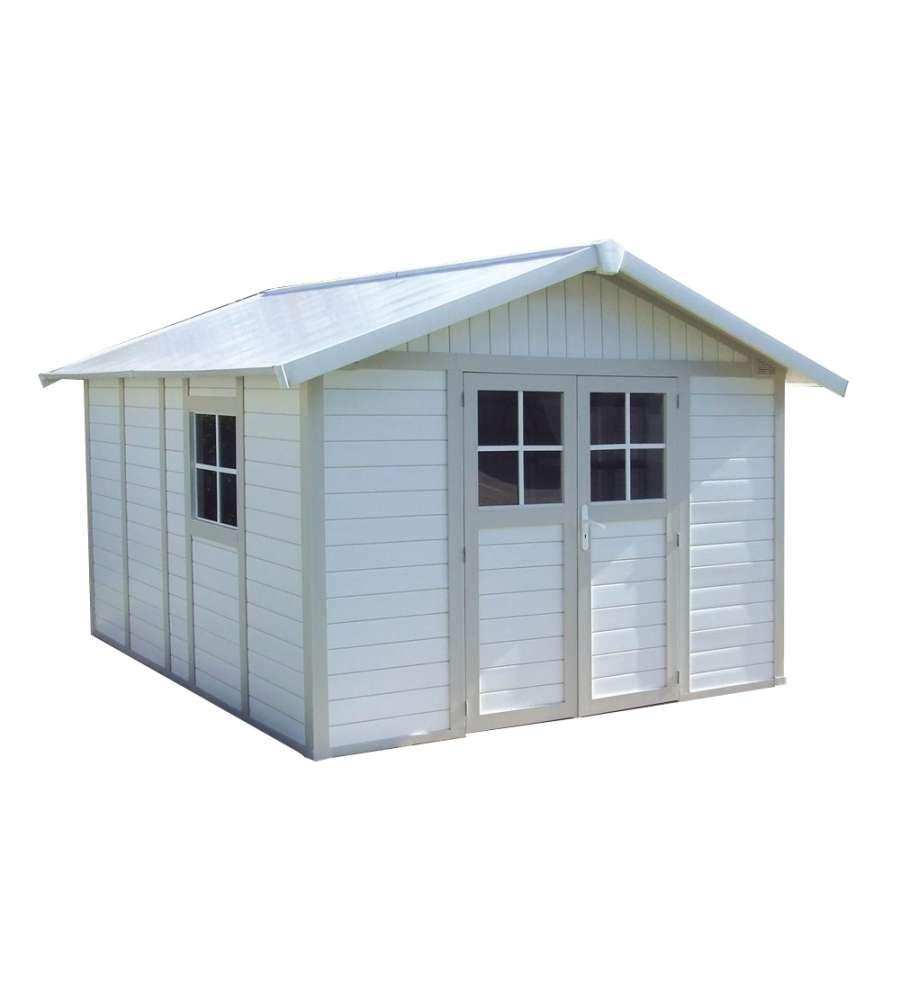 Casetta da giardino in pvc deco bianco grigio 11 mq for Mobili da giardino pvc