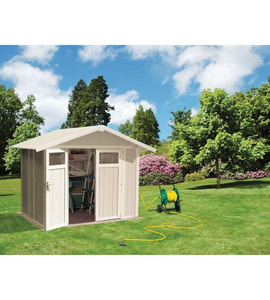 Capanno da giardino in pvc utility grigio verde 4 mq for Prodotti da giardino