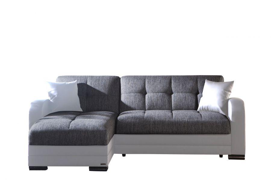 Divano letto angolare modelo kubo con penisola bianco e grigio 223x147x88h cm - Divano letto similpelle ...