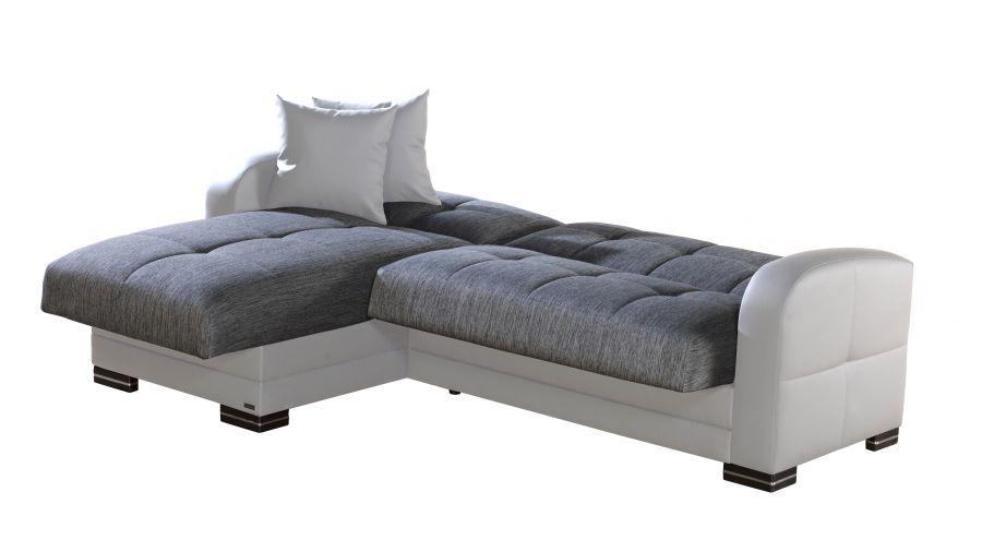 Divano letto angolare modelo kubo con penisola bianco e grigio 223x147x88h cm - Divano letto angolare ecopelle ...