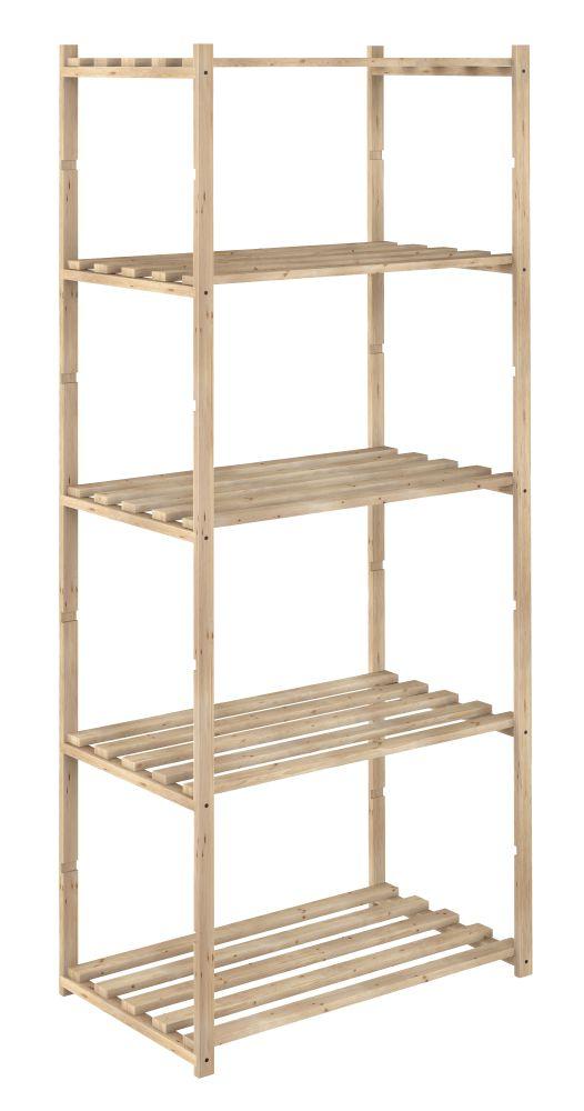 Scaffale in legno con 5 ripiani 171x65x40 cm for Scaffali per vino ikea