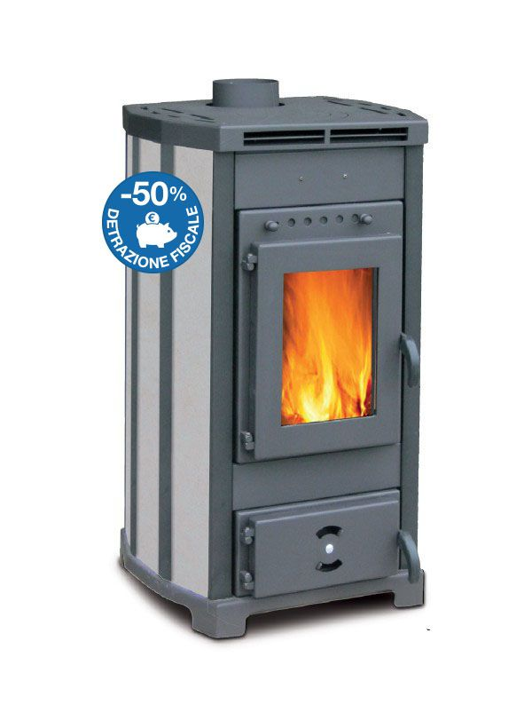 Stufa a legna ventilata adele stone 13 kw colore fumo for Stufe a pellet adler recensioni