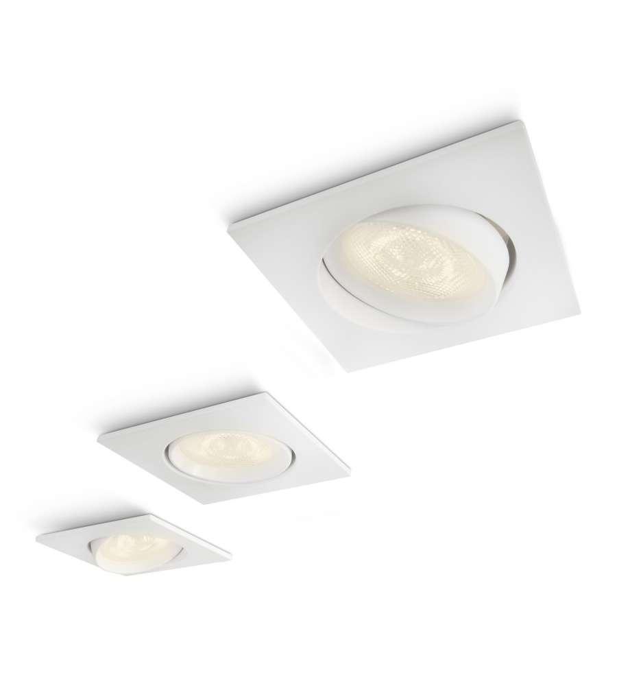 Philips Lm Set 3 Faretti Spot Ad Incasso Quadrati Led Bianco - 3 X 3w.