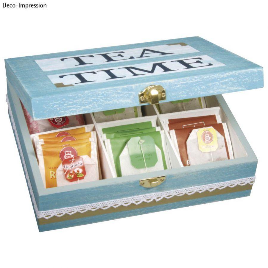 Box porta bustine tisane te in legno con 6 divisori 5x18x7 cm - Porta tisane fai da te ...