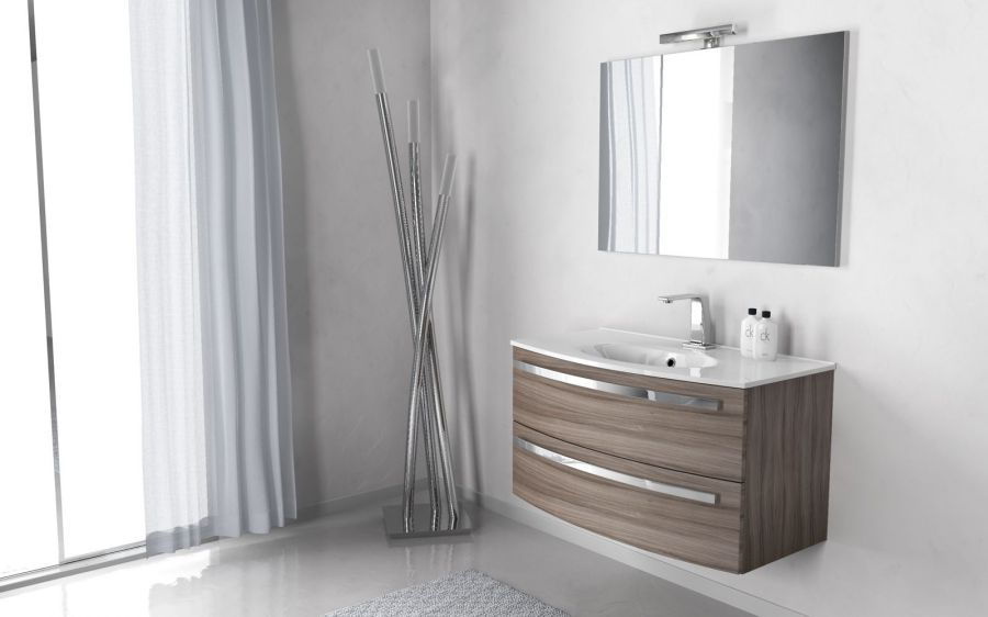 Composizione mobile bagno stella 100 colore larice - Mobili per bagno moderni sospesi ...