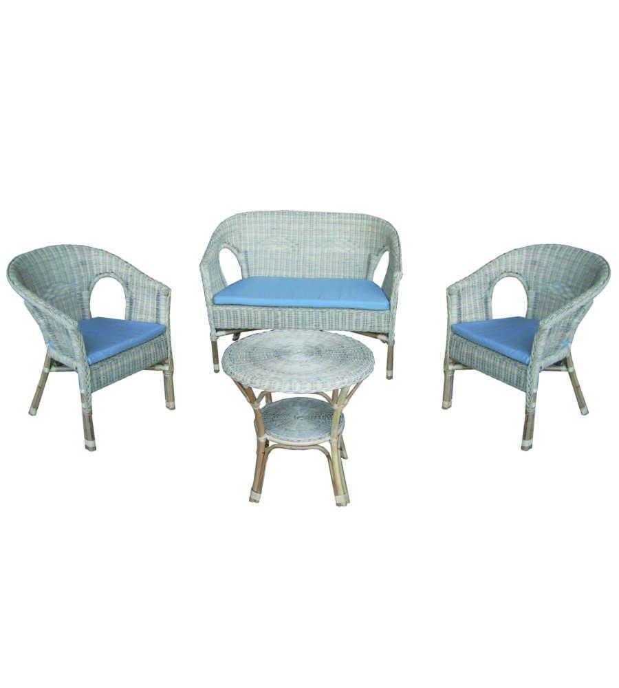Sedie In Midollino.Set Da Giardino In Vimini Fabion Grigio Decapato 1 Tavolino 1 Divano E 2 Sedie