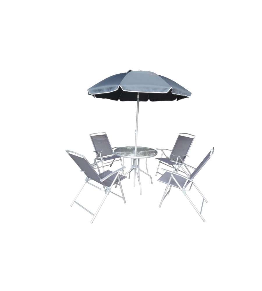 Set da giardino patio da esterno con tavolo 4 sedie e ombrellone - Set tavolo e sedie da esterno ...