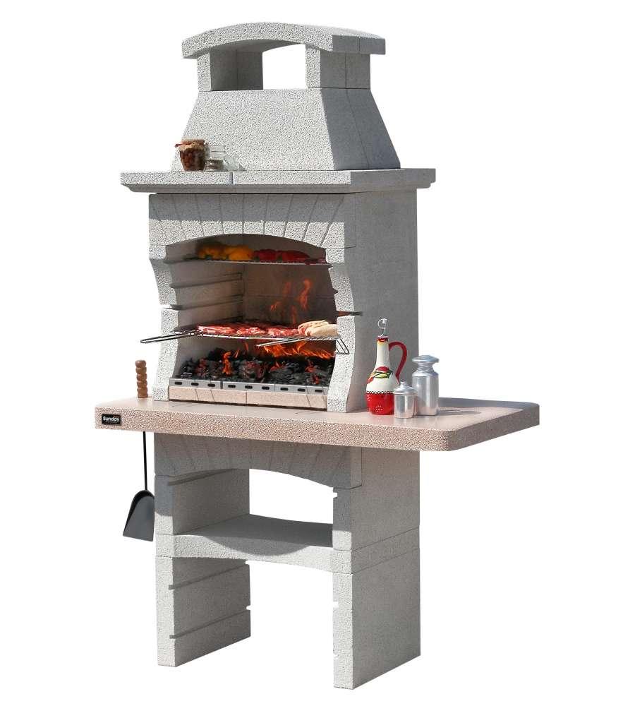 Barbecue sunday kenya in muratura per esterno 125x65x205h - Scale per esterno in muratura ...