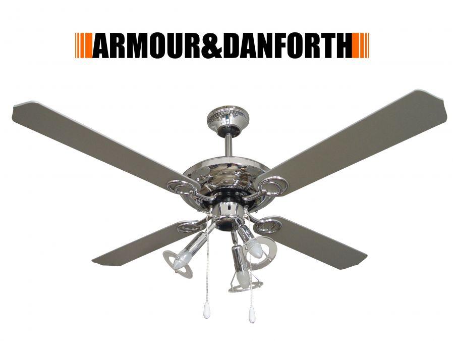 Ventilatore da soffitto cromato 70923 con 4 pale e 3 luci for Lampadario a pale brico