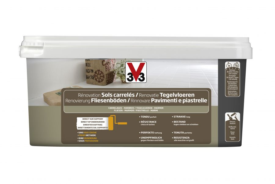 V33 smalto per pavimenti e piastrelle grigio carbonato 2 litri.