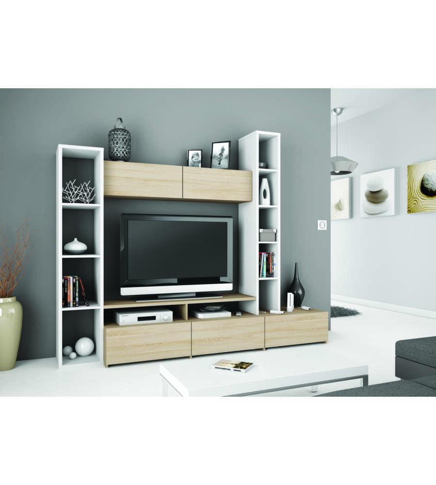 Parete soggiorno wall colore bicolore quercia e bianco - Colore parete soggiorno ...