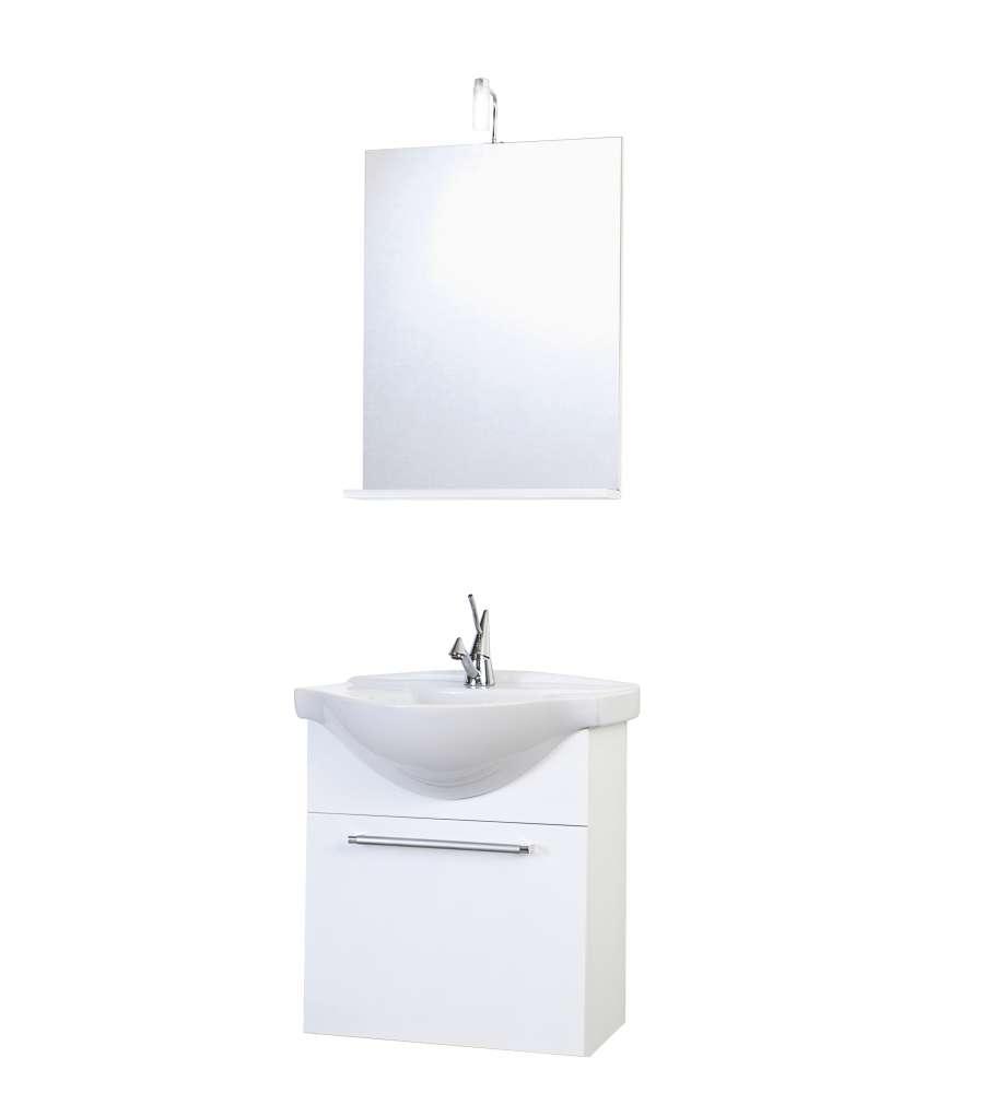 Composizione bagno sospesa ginevra bianco lucido for Composizione bagno offerte