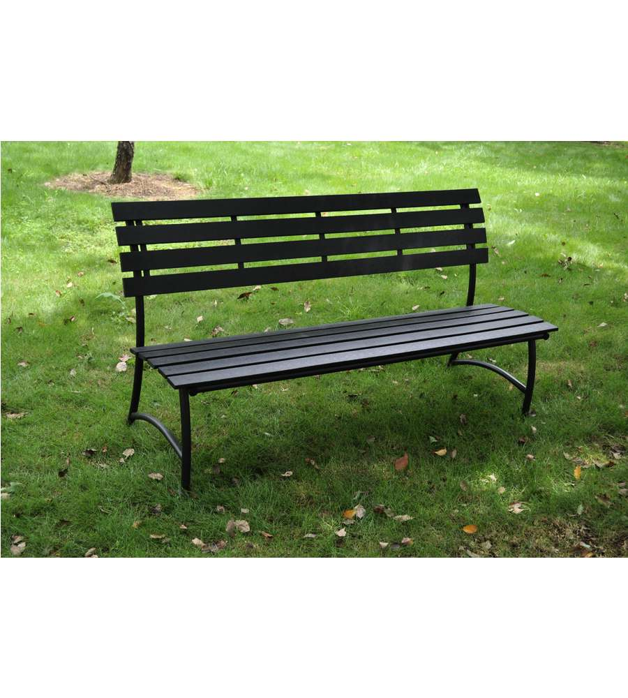 Panchina da giardino grigia antracite in wpc 125x56x76 cm for Vendita arredi da giardino