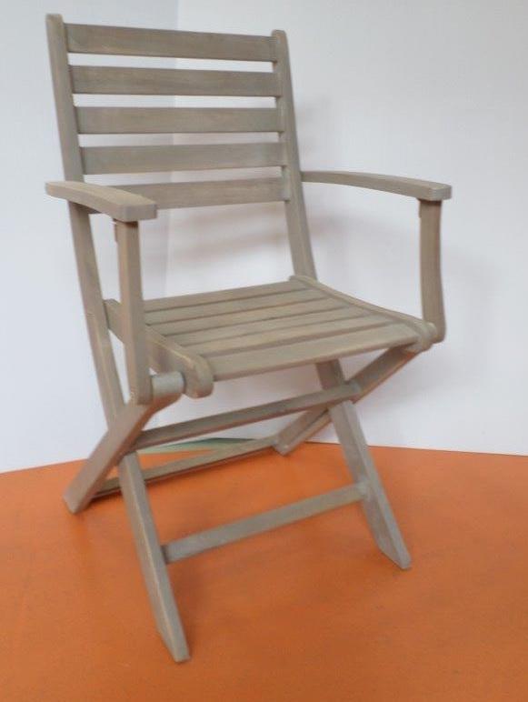 sedia pieghevole con braccioli in acacia colore grigio